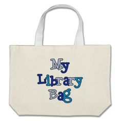 Blue Text Library Bag Tote Bag  Click on photo to purchase. Check out all current coupon offers and save! http://www.zazzle.com/coupons?rf=238785193994622463&tc=pin
