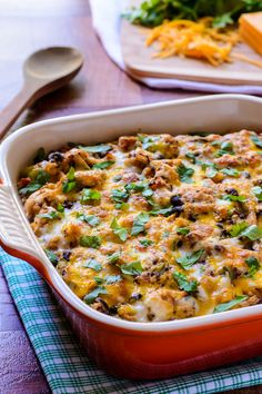 """Is there anything in life quite so beautiful as a gooey, cheesy casserole? Mexican Chicken Quinoa Casserole says, """"I think not."""" Now, oceansunsets, the Grand Canyon, and every Tim McGraw song ever..."""