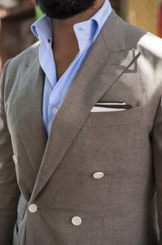 ....still contemplating those cream buttons on the suit but like this grey and blue combo!