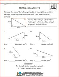Triangle Area Worksheet, geometry worksheets fifth grade