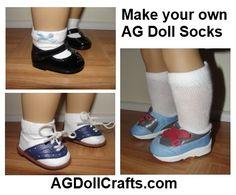 AG Doll Socks Tutorial via AGDollCrafts.com #AmericanGirlDolls #crafts