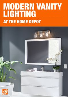 Modern - Vanity Lighting - Lighting - The Home Depot Modern Vanity Lighting, Accent Lighting, Bathroom Lighting, Grey And White Wallpaper, Of Wallpaper, Bamboo Roof, Washable Wallpaper, Small Toilet, Bedroom Layouts