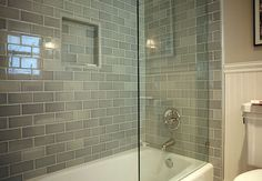 Subway tiles in the bathroom.  Love the soft gray, must find a way to incorporate this color into the new house.