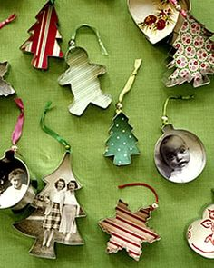 Dollar store cookie cutters and old photos. Great idea! DIY holiday ornaments