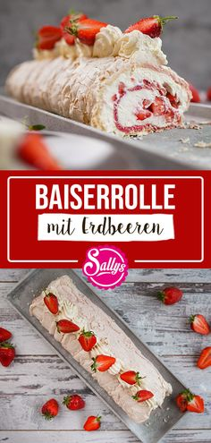 SALLYSBAISERROLLE MIT ERDBEEREN Sally's New Recipe - Easy light meringue roll with strawberries. The sweetish meringue tastes light and fluffy and goes great with the cream of mascarpone cream and Protein Desserts, No Cook Desserts, Protein Snacks, Healthy Dessert Recipes, Best Protein Shakes, Protein Shake Recipes, Popular Recipes, New Recipes, Dessert Nouvel An