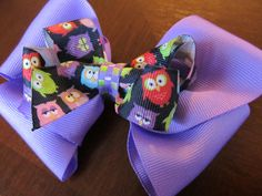 Owl Boutique Bow (lavender, purple, custom, large bow)  Adorable owl bow!! Get it now before it's gone!