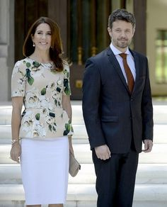 Crown Princess of Denmark Mary (L) and Crown Prince of Denmark Frederik are seen during a reception ceremony with Mexican President Enrique Pena Nieto and Mexican First Lady Angelica Rivera (out of frame) at Los Pinos Residence in Mexico City on November 11, 2013. The Danish Crown Prince is on a three-day official visit to Mexico.