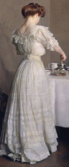 Detail of Tea Leaves, 1909, by William McGregor Paxton (1869-1941)