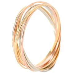 Pre-owned Cartier 18k Trinity De Cartier 7 Bands Bracelet 18cm ($6,800) ❤ liked on Polyvore featuring jewelry, bracelets, accessories, gold, bracelet jewelry, cartier jewellery, 18k white gold bangle, preowned jewelry and 18 karat gold bracelet