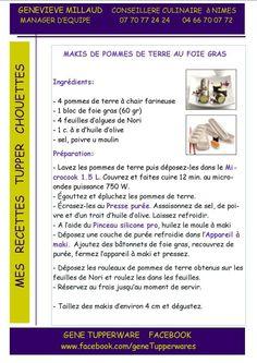 Tapas - Makis de pomme de terre au foie gras - Tupperware
