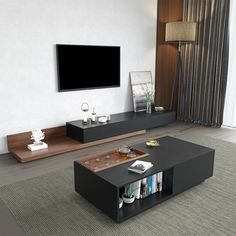 Rustic Rectangular Storage Coffee Table with Drawer and Removable Tray top Black and Walnut Style A Home Living Room, Living Room Furniture, Living Room Decor, Modern Tv Wall Units, Coffee Table With Drawers, Coffee Tables, Living Room Tv Unit Designs, Tv Stand Console, Interior Design