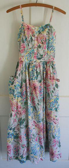 1980's Vintage Laura Ashley Sundress dress white with pastel floral cotton. size 8 petite