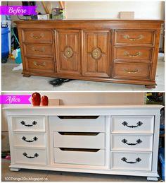 Before and After - Dresser.  Dresser makeover.  Refinished dresser. Dresser Makeov, Antique Dresser Refinish, Before And After Dresser, Refurnished Dresser
