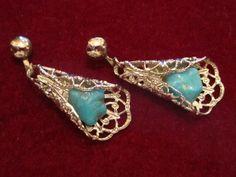 Southwestern Earrings Turquoise Open Work Filigree Dangle Artisan Rare   GoldenDaysGoneBy - Jewelry on ArtFire