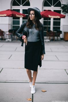 Parisian cafe fashion blog street style, Stan Smith white and black sneakers with skirt