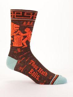 "Men's Blue Q Socks ""Thou Hath Balls"". Care: Machine wash cold tumble dry medium heat no bleach. Mens Blue-Q Socks by Blue Q. Blue Q Socks, Black Socks, Funny Socks, Men's Socks, Socks Men, Crazy Socks, Novelty Socks, Cotton Socks, Mens Fitness"