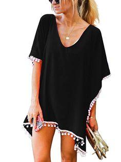 afa9cdd14b Women's Chiffon Pom Pom Kaftan Swimwear Bathing Suit Beach Cover up Free  Size Black at Amazon Women's Clothing store: