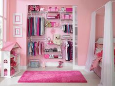 A typical closet used to consist of a single rod with a shelf above, but new organizers let you customize your closet based on your storage needs. In this girl's closet by Rubbermaid, a double-tiered hanging system offers plenty of room for clothes, while wire shelves accommodate shoes, toys and folded garments.