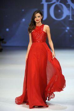 Miranda Kerr Red Sequin Jewel Neck A-line Chiffon Evening Prom Dress