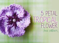 5 Petal Tropical Crochet Flower (Free Crochet Flower Pattern!) ... thanks so for sharing xox
