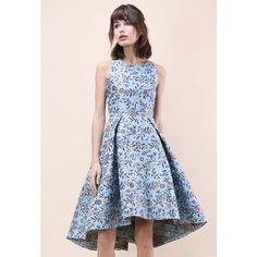 Chicwish Florets Splendor Jacquard Waterfall Dress in Blue (425 CNY) ❤ liked on Polyvore featuring dresses, floral dresses, flower print dress, print dresses, floral print dress and pink flower dress