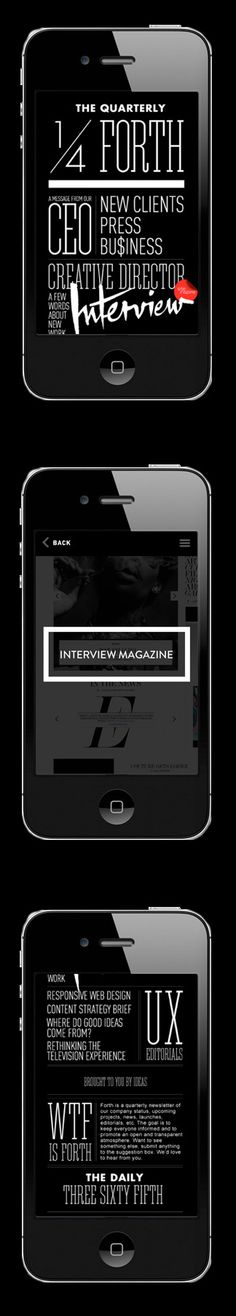 Nice mobile site design for Interview mag