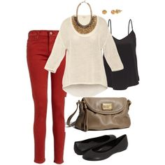 Outfit - Red Pants, T. Babaton tops, Marc by Marc Jacobs bag, Stella & Dot Jewelry