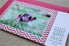 Letterpress Holiday Photo Card | Chevron Design | Page Stationery available at Paces Papers