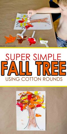 Simple Fall Tree with Cotton Rounds: Need an easy fall craft? Try making this simple fall tree! It's a quick and easy toddler art activity; fall art activity for toddlers