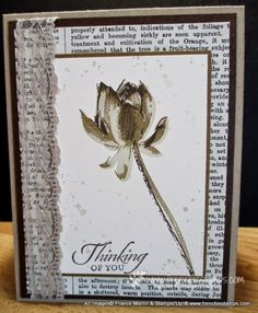 "By France Martin form ""Stamp & Scrap with Frenchie"", Stampin' Up! ""Lotus Blossom"" in Sahara Sand, Soft Suede and Early Espresso ..."
