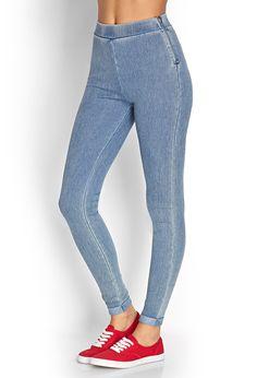 Denim-Style Leggings - Leggings - 2000123047 - Forever 21 UK