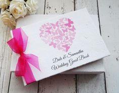 Butterfly heart wedding guest book