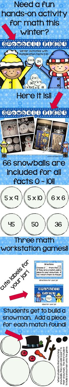 "A fun way to keep students engaged all winter long!  Three multiplication games using ""snowballs""."