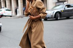 luxe camel coat (note sleeve length) + leopard.