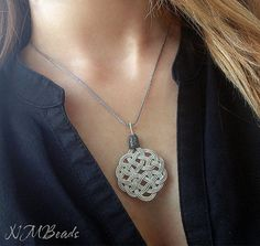 Fine Silver Celtic Knot Pendant With Sterling by NMBeadsJewelry