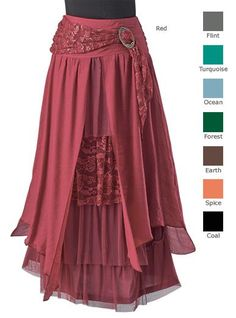 Skirts - Layered Skirt with Brooch. This with the Ruanna for Ren Faire. The only question is the color. Love the layered look! Gypsy Style, Bohemian Style, Boho Chic, Pretty Outfits, Beautiful Outfits, Cool Outfits, Look Fashion, Fashion Outfits, Dress Skirt