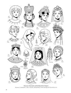 Common Byzantine women hairstyles/ headdresses. You can see the trend of pulled back hair topped with an bejeweled headdress.