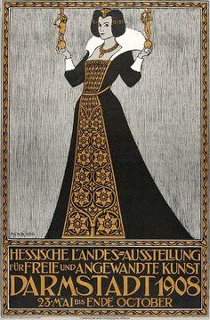 Art Deco. Friedrich Wilhelm Kleukens, Plakat: Hessische Landes-Ausstellung (1908)