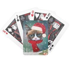 Meowy Santa Cat Christmas playing cards poker card