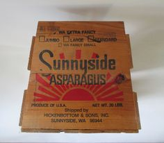 Advertising Crate Vintage Wooden Asparague Box by HobbitHouse