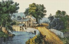 Roadside Mill Landscape Counted Cross Stitch Pattern / Chart, Instant Digital Download   (AP403) Counted Cross Stitch Patterns, Cross Stitch Designs, Currier And Ives, Colorful Trees, Dmc Floss, White Patterns, Needlework, Colours, Embroidery