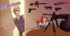 ladyaddison requested either Baby Deadpool and Peter or Clint with Baby Natasha, but since I already did the first one I decided to do the second :)Clint, just say no to babysitting! Art belongs to Crazyk-c