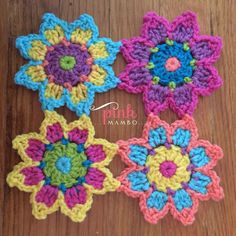 Cute crochet flowers- free pattern with tutorial Crochet Flower Tutorial, Crochet Flower Patterns, Crochet Motif, Crochet Flowers, Crochet Stitches, Knit Crochet, Cute Crochet, Crochet Crafts, Crochet Projects