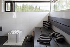 That looks really comfy Modern Saunas, Sauna Design, Finnish Sauna, Villa, Black Decor, Interior Inspiration, Architecture Design, Interior Design, Storage