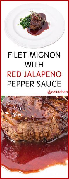 Filet Mignon with Red Jalapeno Pepper Sauce - Made with beef tenderloin steaks, chili powder, garlic powder, black pepper, salt, dried oregano, cumin, canola oil, beef broth, balsamic vinegar, red jalapeno pepper jelly | CDKitchen.com