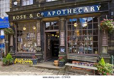 Rose & Co Apothecary on the main street (dating from the time of the Brontes), Haworth, West Yorkshire, England, - Stock Image