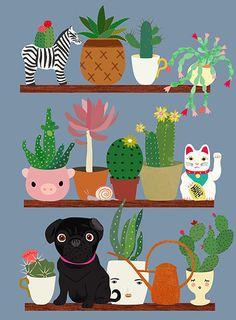 Cactus shelf with black pug-art print by sevenstar on Etsy