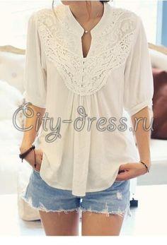 878c4e5db06 Фото модная блузка с кружевом и рукавом 3 4 Женские Блузки
