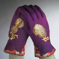 Schiaparelli 1930s vintage gloves with metallic and silk embroidery