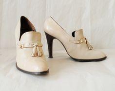 Vintage Platform White Leather Tassel Heels by Front Row, Spain Leather Tassel, White Leather, 1970s Clothing, Tassel Heels, Ladies Day Dresses, Shoes Heels, Pumps, Front Row, Jimmy Choo